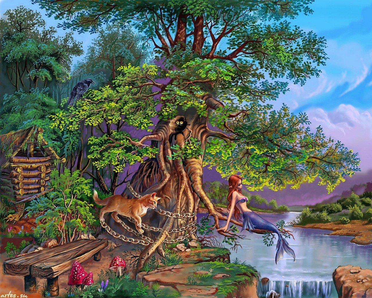 Открытка у лукоморья дуб зеленый, картинки