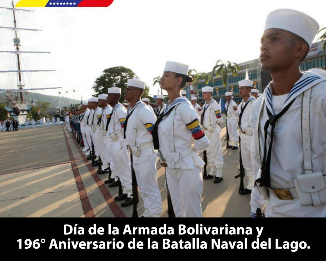 Felicito a los hombres y mujeres del mar que se forjaron con el espíritu antiimperialista presente en la gesta victoriosa de la Batalla Naval del Lago. Venezuela cuenta con una @ArmadaFANB que defiende nuestras aguas territoriales y la Paz de pueblo venezolano. https://t.co/zgA1BuOYQs