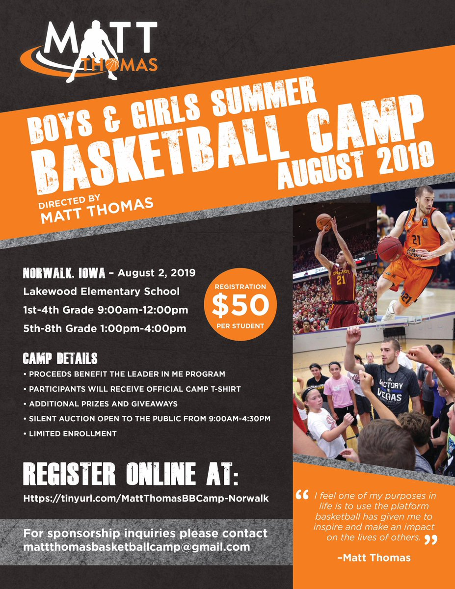 UPDATED CAMP DATES/LOCATIONS Norwalk, IA- Friday, August 2nd @ Lakewood Elementary Onalaska, WI- August 26/27th @ Eagle Bluff Elementary For more information see the attached flyers. Hope to see you there!!