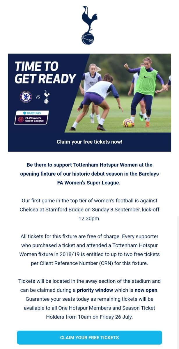 Claim your free tickets to Chelsea FC Women vs Tottenham Hotspur Women. #coys https://t.co/VrazW52VEO https://t.co/Rx7nwlnV5k