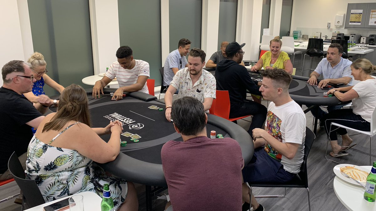 Poker night in the London office for the #PokerStarsTV team. 'Jimmy the Bastard' (not pictured) is TD!