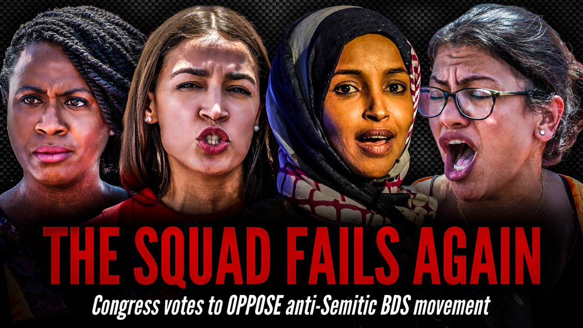 THE SQUAD FAILS AGAIN! Yesterday, Congress was unified and passed a bill that opposed the anti-Semitic BDS movement. The terrorist-supporting hate groups @AMPalestine @jvplive @ifnotnoworg @NationalSJP @IlhanMN @rashidatlaib @cairnational are LOSERS. Love beats hate!