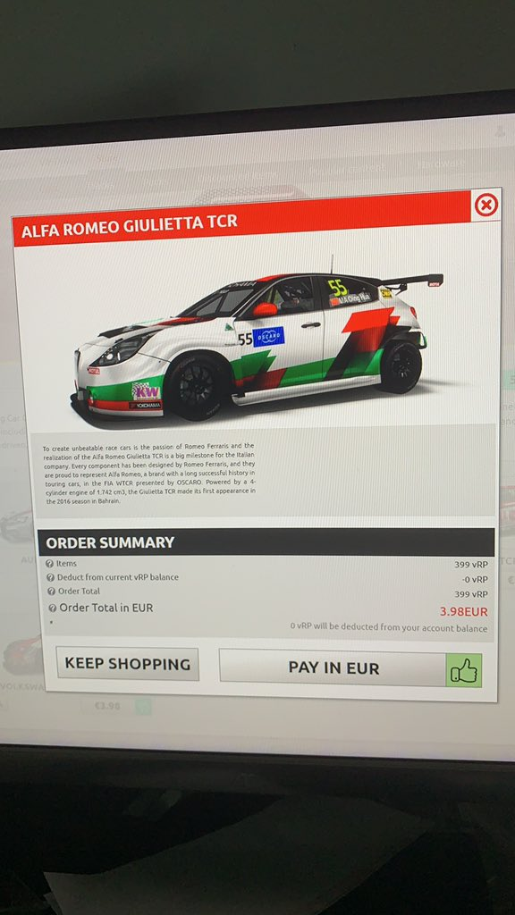 Paying in game for my car feels surreal.@FIA_WTCR @raceroom