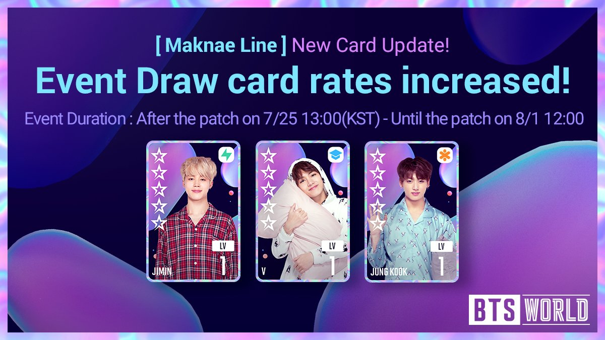 [NOTICE] Manager! New <Maknae Line> Cards have been added! Meet these new sleepyheads in-game now! ★Event Draw card rates increased!★ Event Duration : After the patch on 7/25 13:00 (KST) - Until the patch on 8/1 12:00 [Notice Link]▶forum.netmarble.com/btsworld/view/… #BTSWORLD #BTS월드