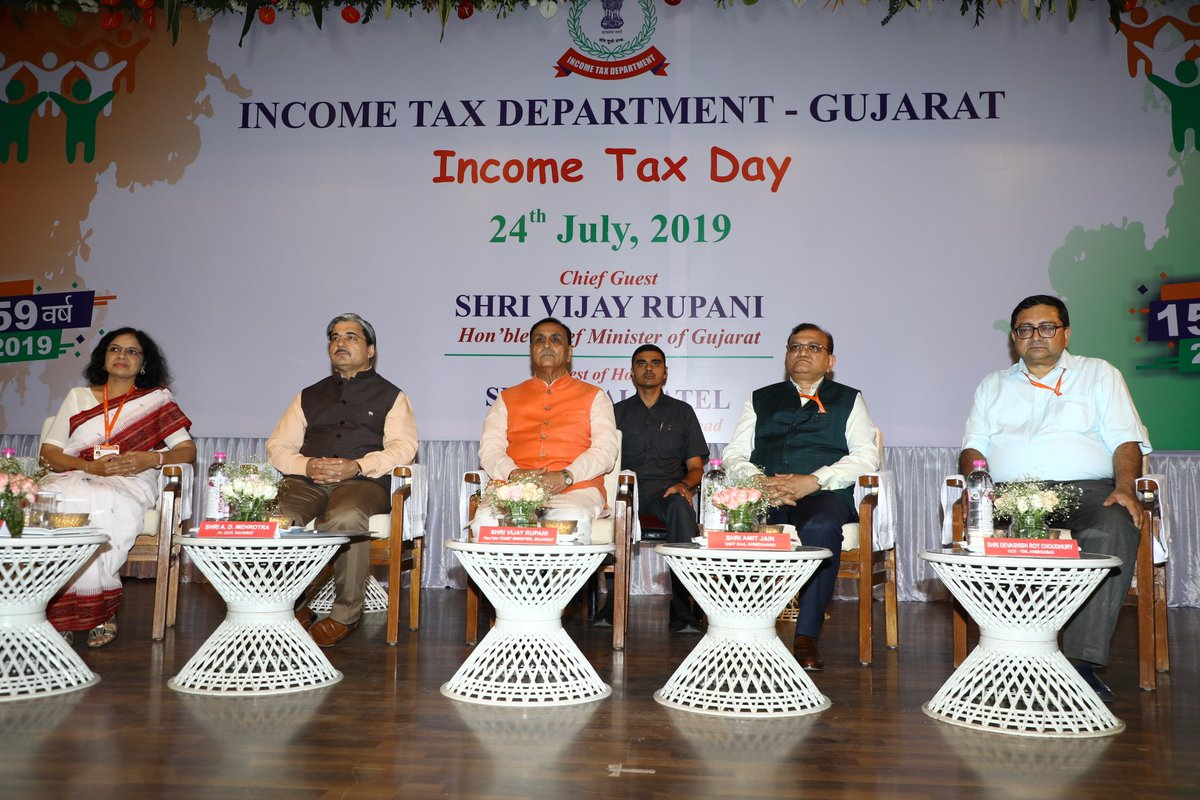 CM Shri @vijayrupanibjp attended a function organized to celebrate 159th #IncomeTaxDay at Ahmedabad last evening and categorically stated that the Income Tax Dept has to play a key role in promotion of 'White Economy' in making of #NewIndia, as envisaged by PM Shri @narendramodi<br>http://pic.twitter.com/qLqvv9HiMo