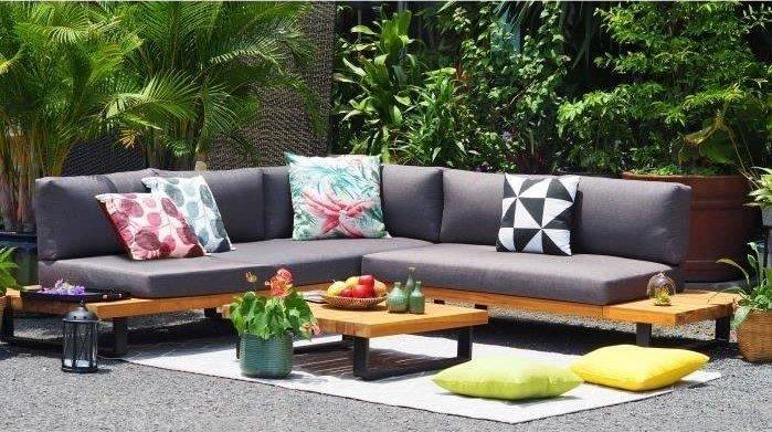 ALUXE Salon de jardin en bois d'acacia pas cher prix Salon de ...