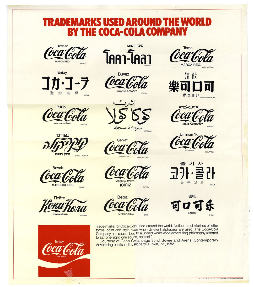 This 1982 @CocaCola poster from our #MakingYourMark exhibition shows its iconic logo in different writing systems.   How many languages do you recognise here?  (Image courtesy of the Coca-Cola company) <br>http://pic.twitter.com/PEAfU87A56