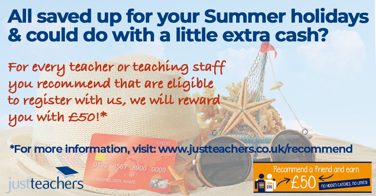 test Twitter Media - Feeling the pinch this Summer after saving up to pay for your holidays? If you recommend an eligible teacher or teaching support staff to register with us- we will reward you with £50! For more information just visit our website: https://t.co/Y7tWMfrQ1x https://t.co/W1QkbVbPx2