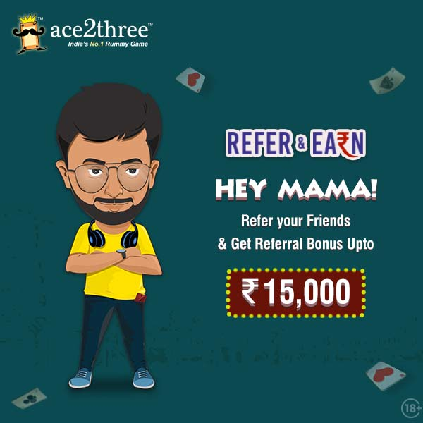 Hey Mama! This Freedom Season, Introduce your Friends to Ace2Three - Indias #1 Rummy Game & Grab exciting bonuses up to Rs. 15000 on your way! :) :) Come, lets celebrate the joy of Freedom at Ace2Three Rummy! Play Now => bit.ly/ace2threerummy… #ace2three #rummy #BonusOffers