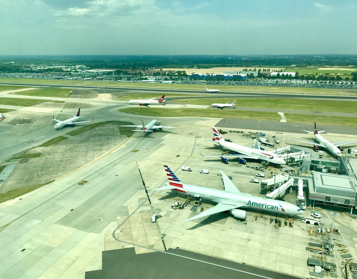 As we sit in a glass greenhouse at the top of a very large chimney, the outside temperature on the airfield has reached 37 degrees @HeathrowAirport and is still rising 😓 #hottestdayoftheyear