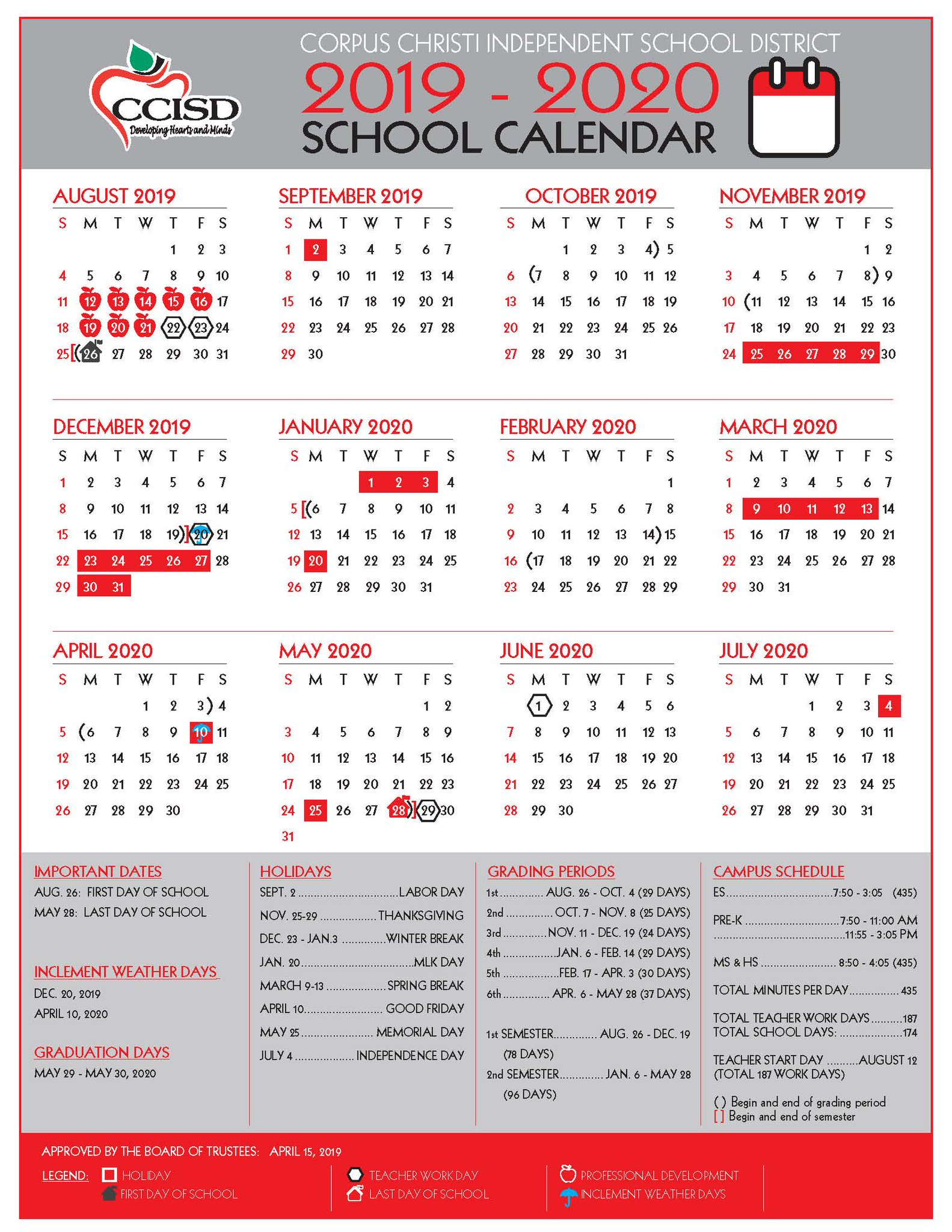 Ccisd Calendar 2022 23.Ccisd Twitterissa Here S Our 2019 2020 School Calendar With Campus Schedules Holidays And Grading Periods To Help You Prepare For Another Great School Year Backtoschool Chooseccisd Link Https T Co Bo0lxxkzvw Https T Co 5o1xvrf1mi