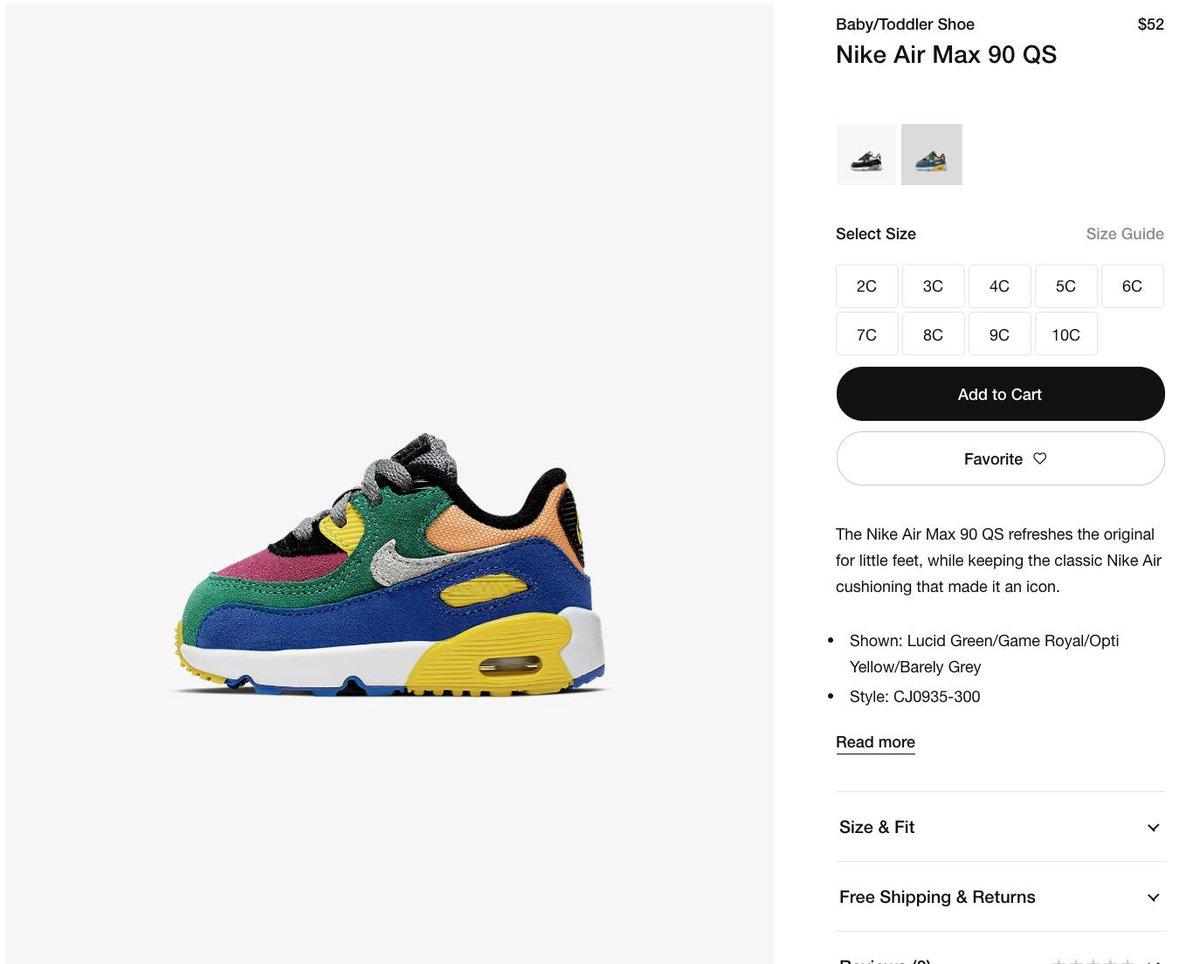 Nike Air Max 90 QS BabyToddler Shoe
