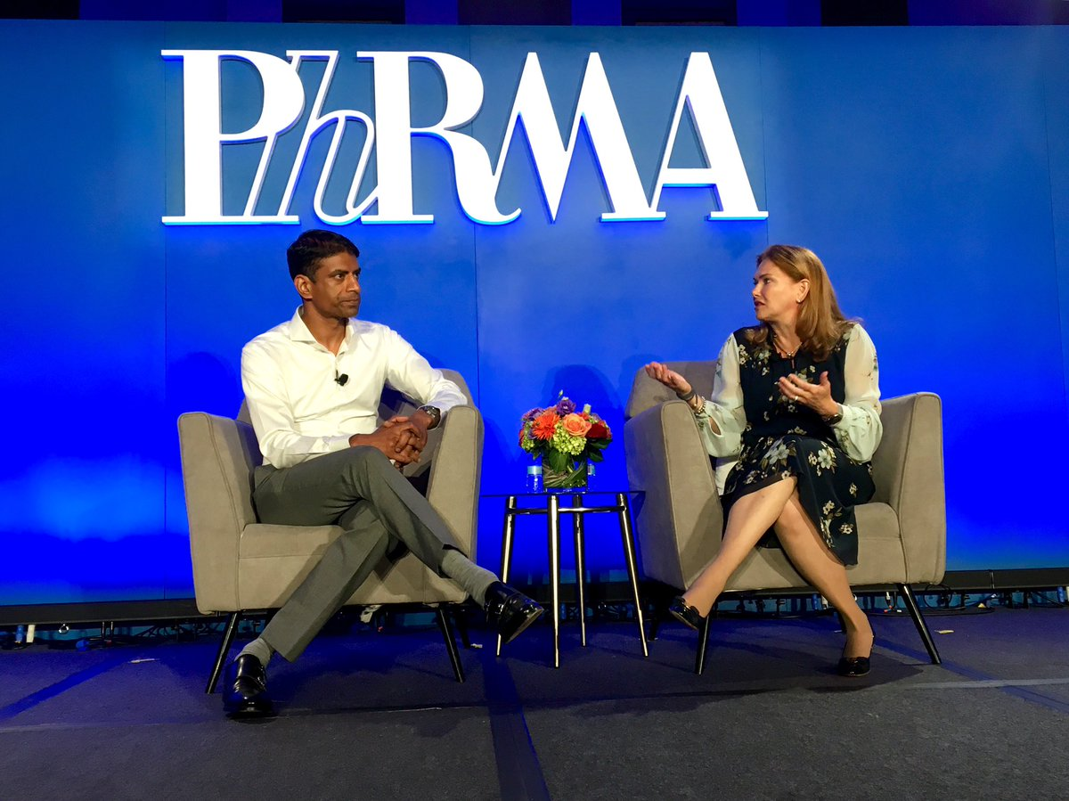"""In our final session at Innovation Day, speaking with Vas Narasimhan of @Novartis, @dramyabernethy notes there is """"momentum"""" in development and use of real-world evidence and highlights @US_FDA already making use of it for aiding in review. #GoBoldly"""