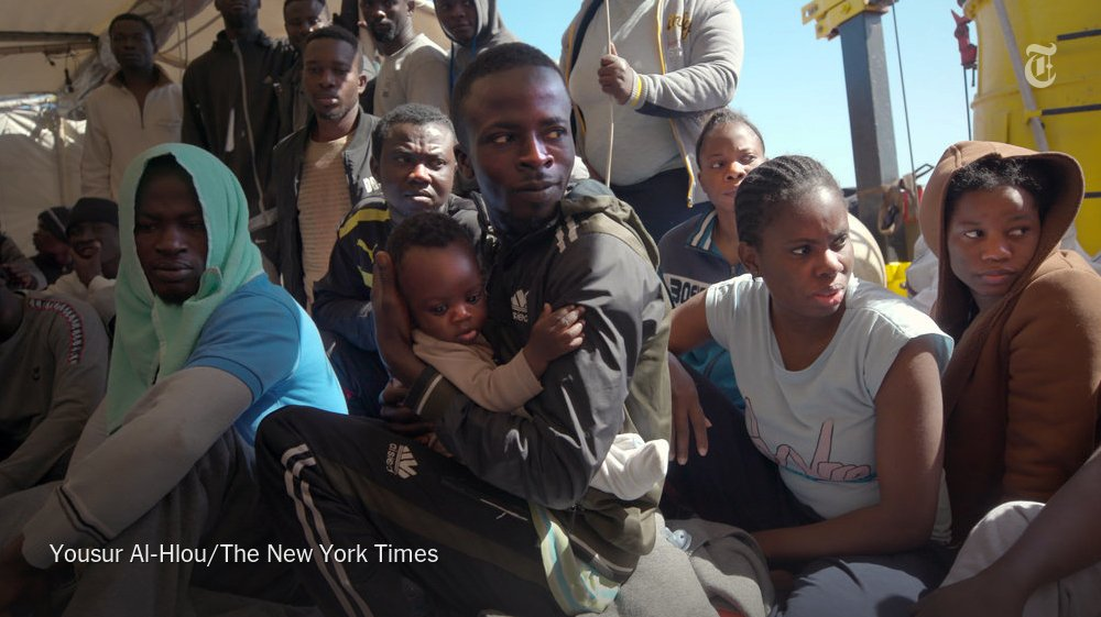 According to the U.N., about 150 migrants drowned off the coast of Libya today. In May, we went aboard one of the last private search and rescue vessels operating in the area as the crew faced Italian authorities who accuse them of being criminals. https://nyti.ms/2Y20iNP