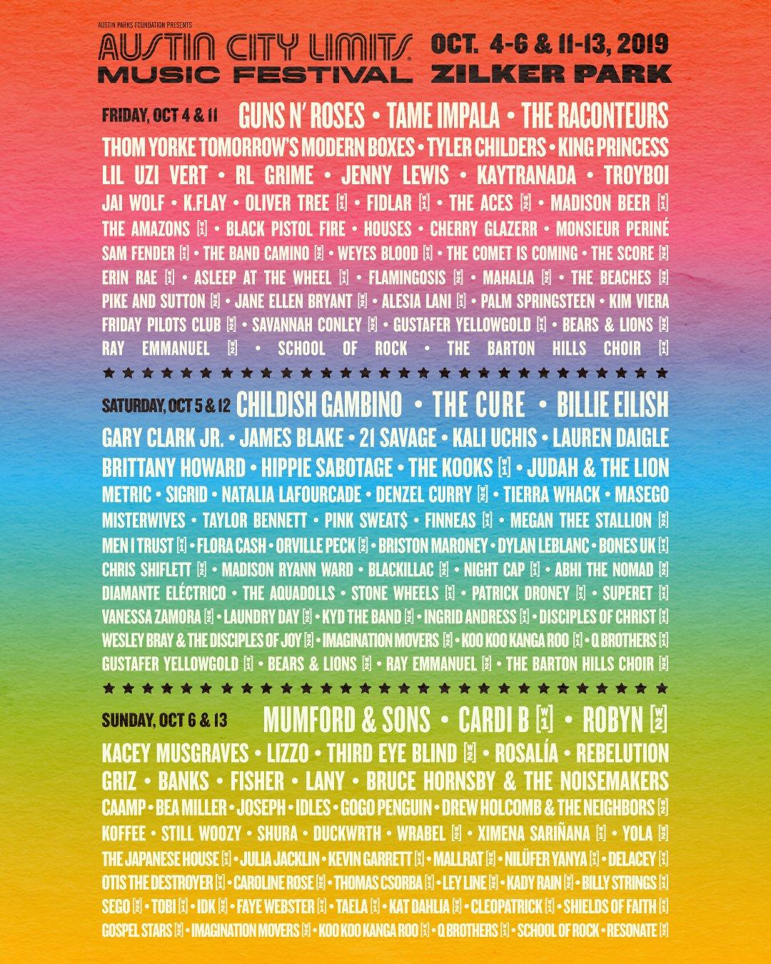Austin City Limits 2019  Lineup