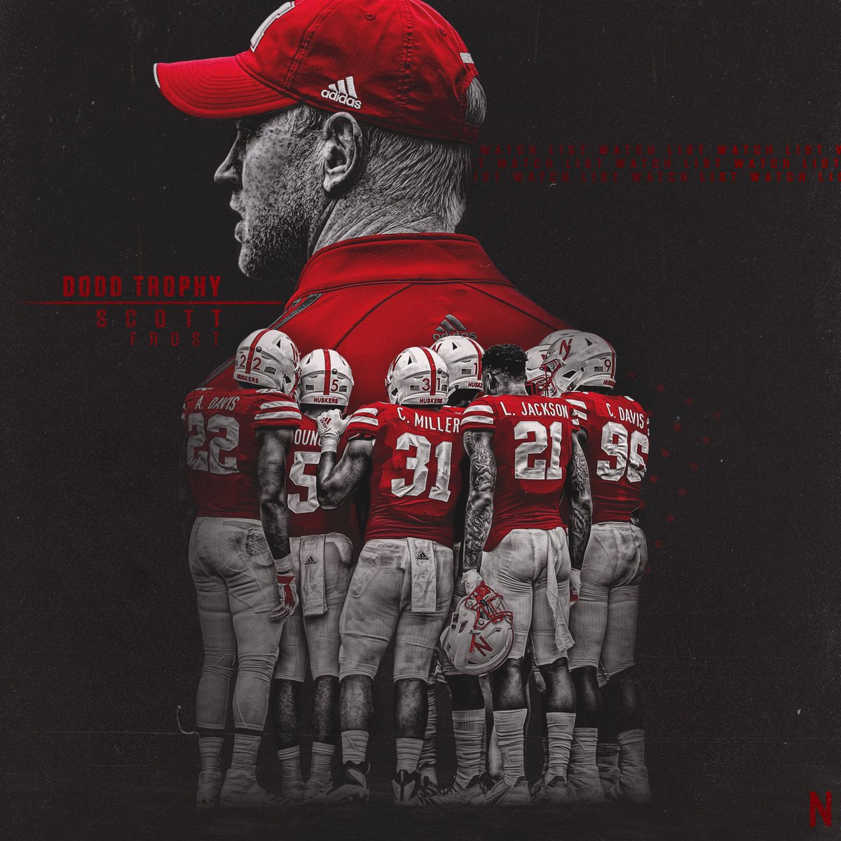 . @Coach_Frost named to the @doddtrophy Preseason Watch List. #OurRedBurnsBrighter x #GBR
