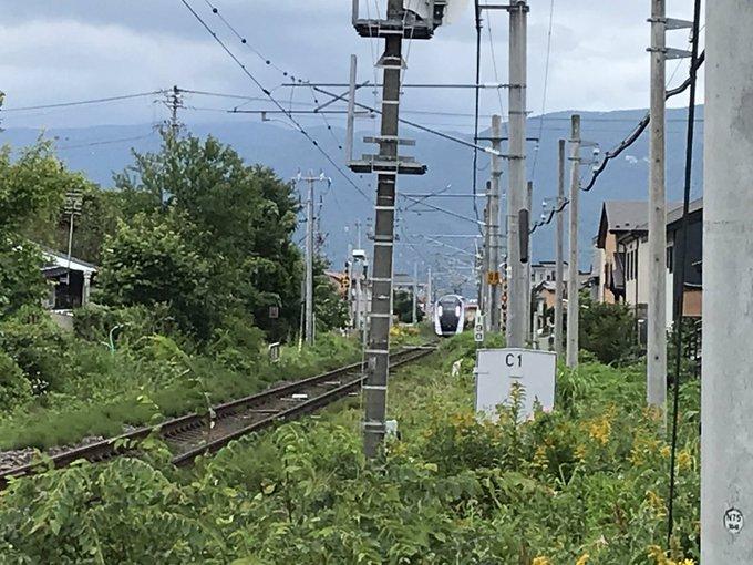 中央本線の茅野駅~上諏訪駅間で特急あずさ9号の人身事故の現場画像