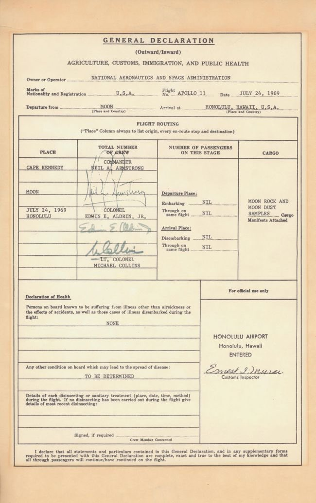 Imagine having to go through customs after returning from the Moon! 😁Items to declare: Moon rocks! #Apollo50th
