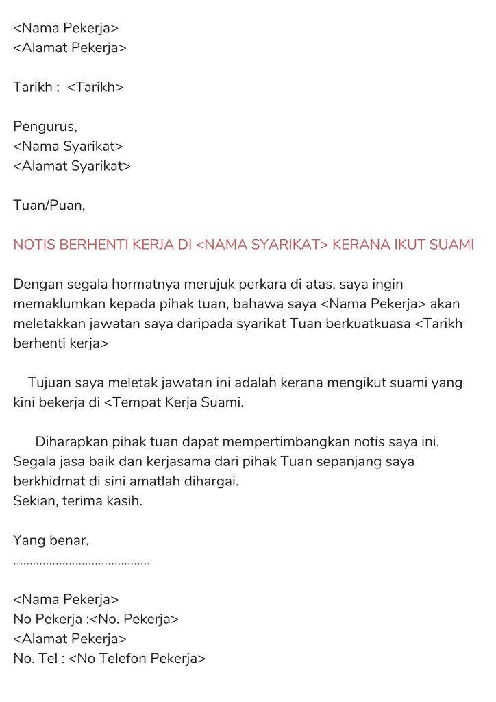 Work Co Resumemurah Ar Twitter 6 Contoh Surat Berhenti Kerja Dalam Bahasa Melayu Notis Sebulan Notis 24 Jam Notis Serta Merta Notis Menyambung Pelajaran Https T Co 8ttqid6s0p