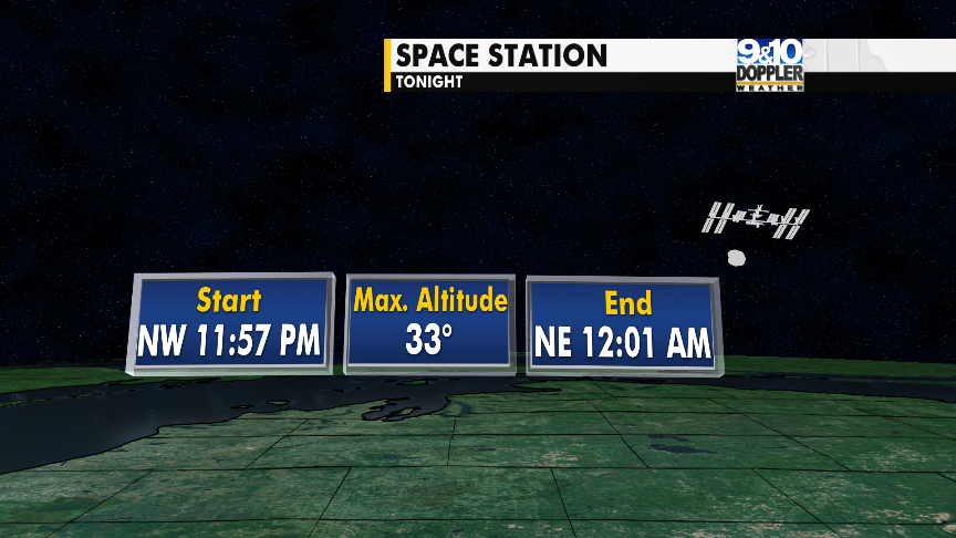 Space Station viewing tonight starts at 11:57 and ends at 12