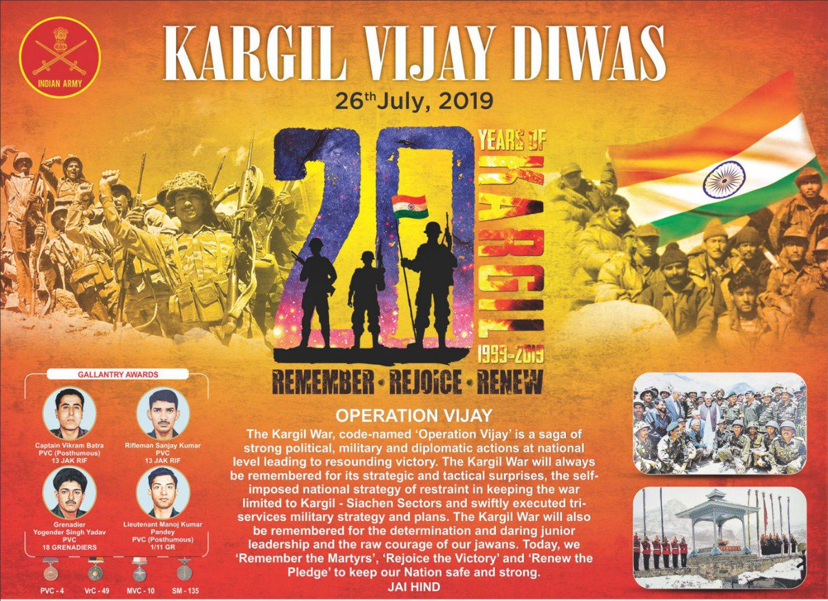 26 July immortalized as #KargilVijayDiwas is saga of glorious victory of the Nation during Kargil Conflict in May-July 1999. #IndianArmy soldiers fought legendary battles in Dras, Kaksar, Batalik & Turtok Sectors. #Salute to courage, valour & sacrifice of our martyrs & heroes. https://t.co/1zuL98Xnk1