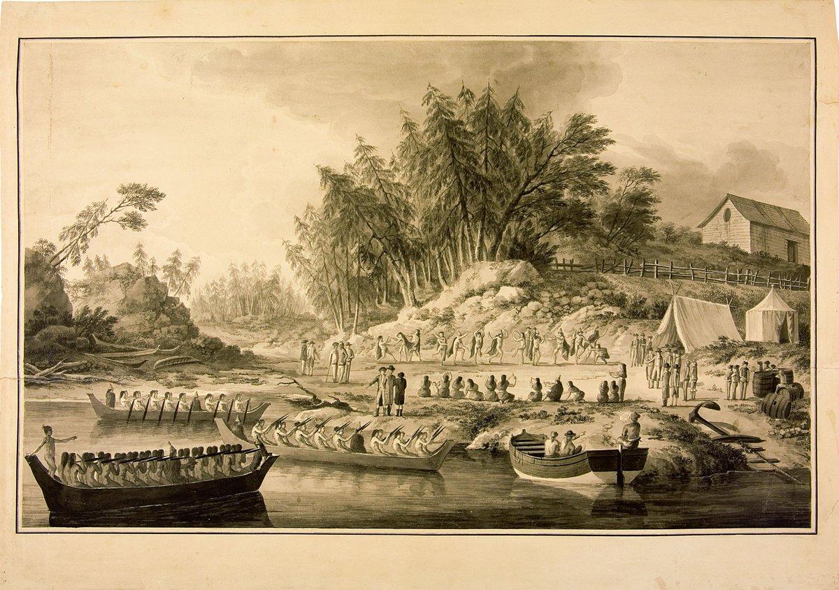 #FelizDomingo! ¿Estás en la playa?⛱ Márcate un baile como el de los indígenas del archipiélago de Tonga para recibir a la #ExpediciónMalaspina. #ArchivoMuseoNaval. @Museo_Naval #ArchivosDeDefensa