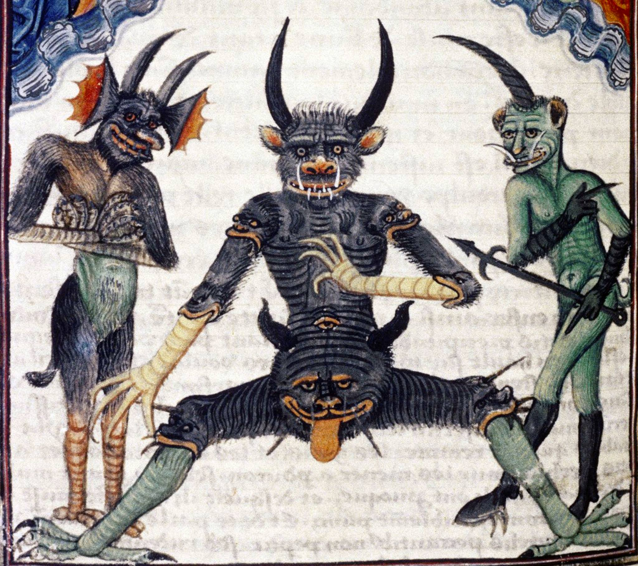 """Erik Wade Twitterren: """"Mini-thread: Why do medieval devils have faces on  their groins/bottoms/knees? Well, Christians saw the body as reflecting the  proper order of the universe: up/right/front is good, down/left/back is bad."""