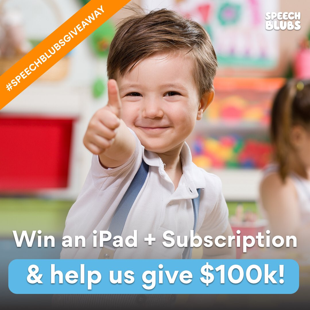 Win a subscription + iPad! #giveaway   Mention a FRIEND or ORGANIZATION that helps little heroes who struggle with speech. Parent? Teacher? Kindergarten? Therapist? Clinic? ABA therapist? ABA center? Charity? Tell us why they deserve the donation & Help us donate $100k in subs!
