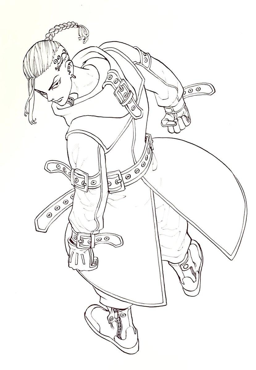 트위터의 東京卍リベンジャーズ 公式 님 13巻 ドラケンの線画 ドラケンのイメージは武士 なんとなくベルトが刀に見えるように描いたり 服がすこし鎧っぽく見えるように描きました 和
