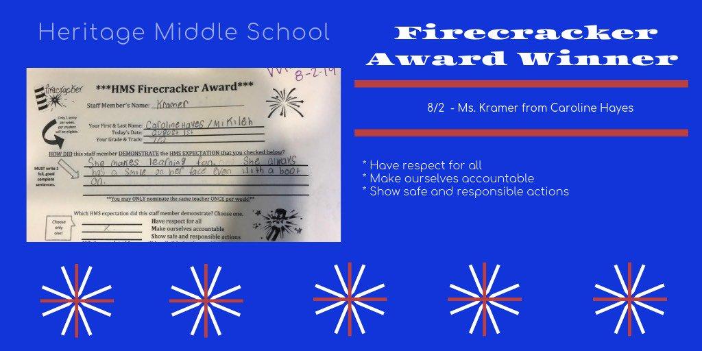 Congratulations to this weeks Firecracker Award winner, Ms. Kramer! #TheHeritageWay <br>http://pic.twitter.com/VvF1TJXR8i