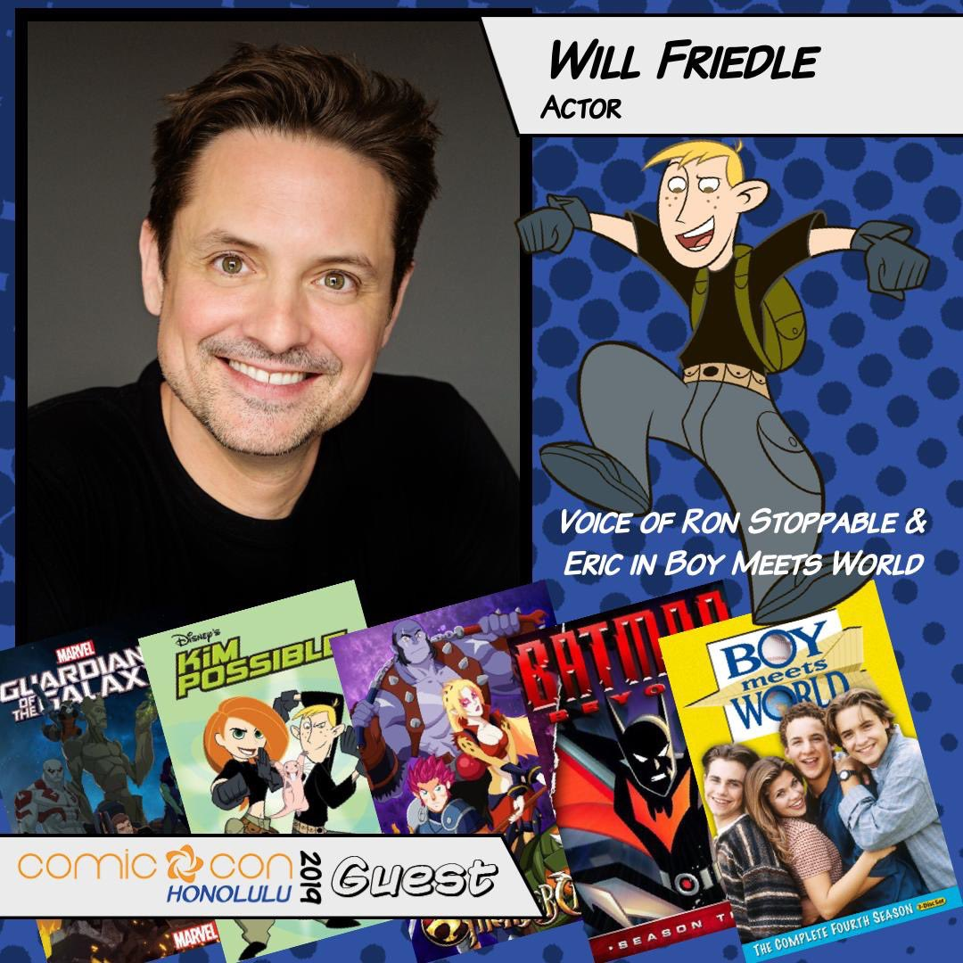 Hey HONOLULU! @willfriedle is @ComicConHNL today-Sunday! He'll start signing autographs around 11:30 am; and there's a voice artist panel at 1:45 pm. Will he see you there? #BoyMeetsWorld #BatmanBeyond #KimPossible https://t.co/R1UlL9alTu