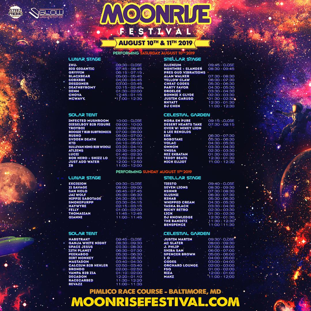 2019 Moonrise Festival schedule
