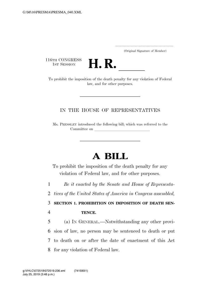 Michigan abolished capital punishment in 1846. The U.S. government has had a moratorium on this horrendous practice since 2003. Now, President Trump and AG Barr want to resume executions. This week, I joined @RepPressley to introduce a bill to prohibit the federal death penalty. https://t.co/lW5bZKS332