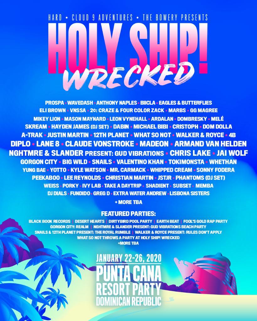 2020 Holy Ship lineup