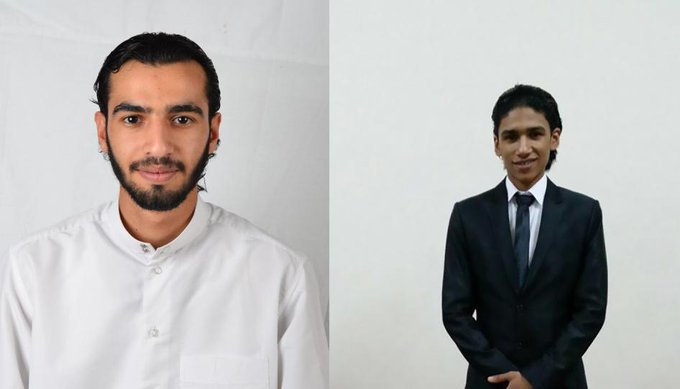Photos of Ali al-Arab and Ahmad al-Malali, whose death sentences have been upheld by Bahrain's Court of Cassation