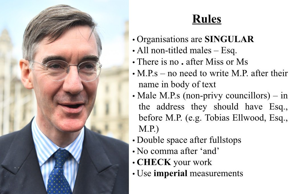 ITV News exclusive: @Jacob_Rees_Mogg issues new style guide to his staff demanding male MPs are called Esq, the use of imperial measurements and which words are banned (but not not fit for purpose), reports @PaulBrandITV itv.com/news/2019-07-2…