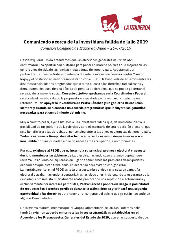 ‼️ Comunicado de IU acerca de la investidura fallida de julio 2019 🔗 Versión web: iunida.org/3obq1 📄 Versión .pdf: iunida.org/tjrip