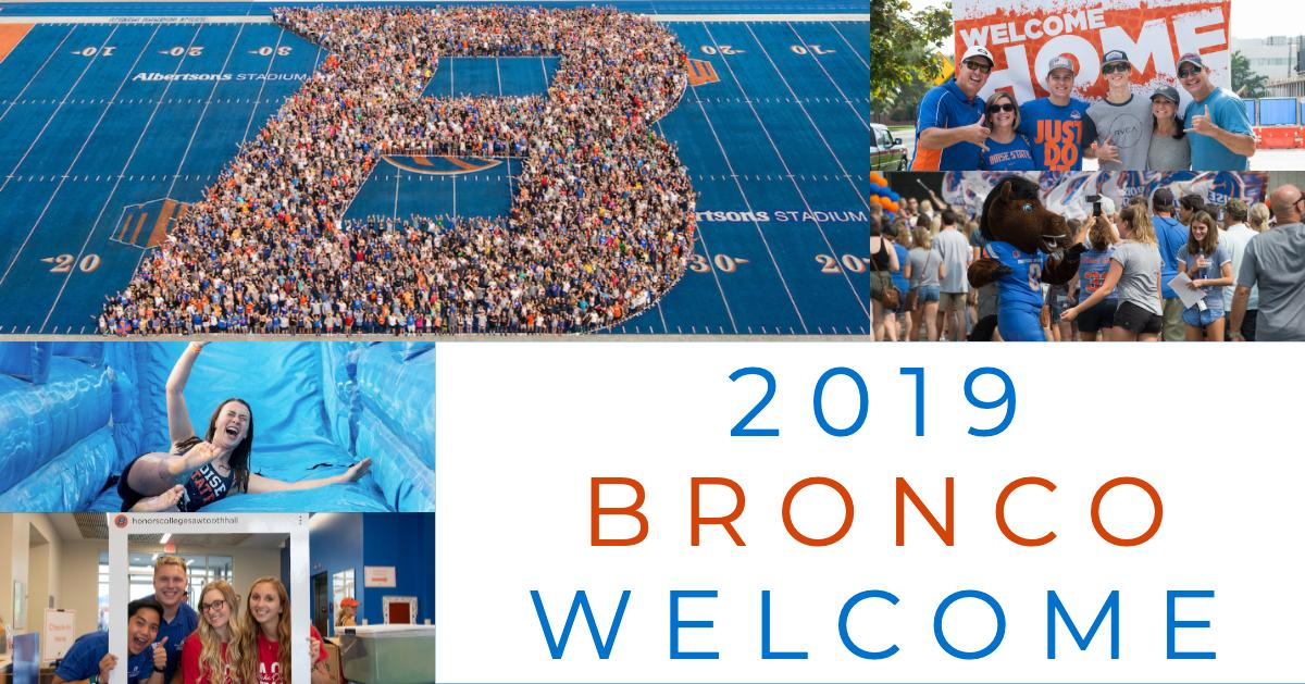 "Graphic design with school colors, photos of smiling students, text reads ""2019 BroncoWelcome"""
