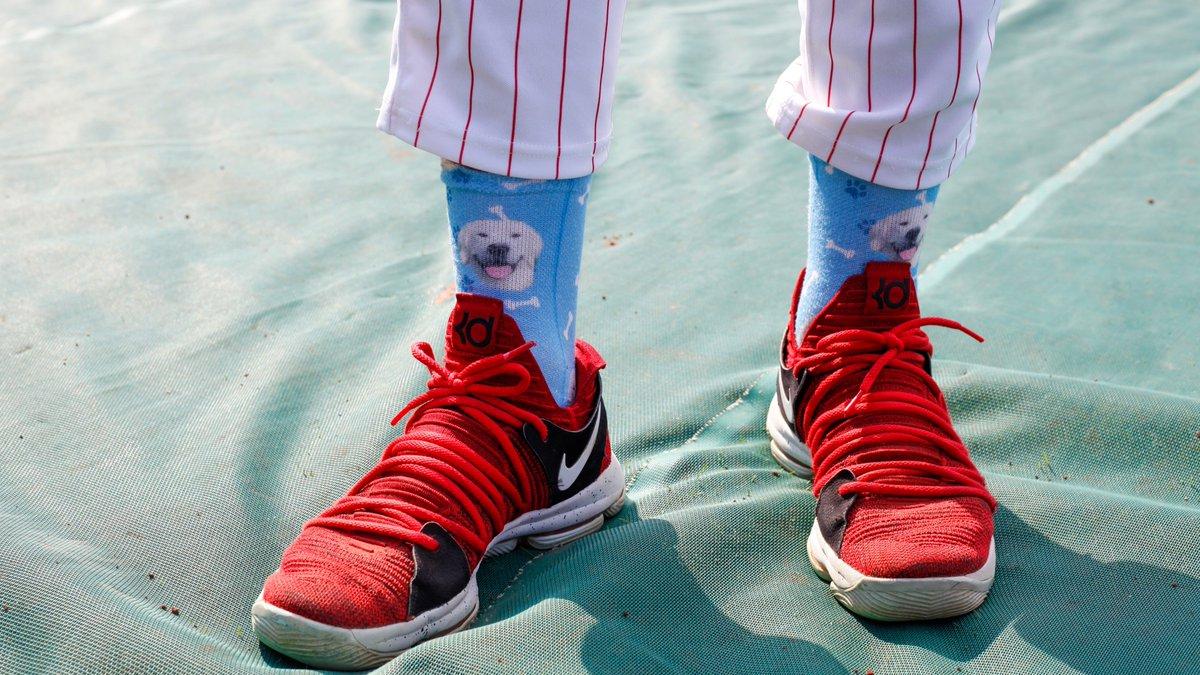 Rhys Hoskins wears dog socks