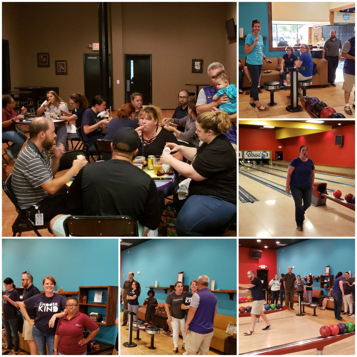 New teacher/ veteran staff orientation at the bowling alley. Building relationships and #deepeningcommunity!!! #theheritageway #lovewhereyouwork  @HeritageMiddle1<br>http://pic.twitter.com/SD2Bu3cfcj