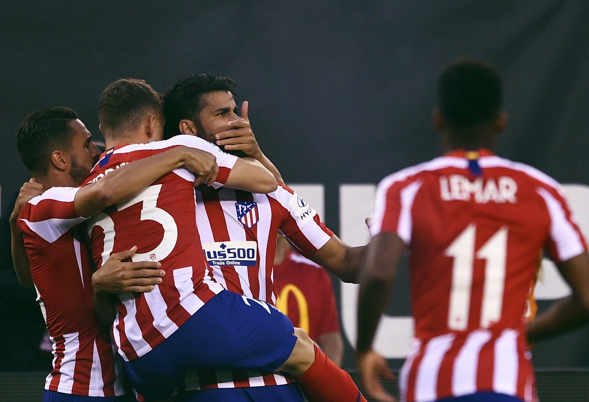 Celebración de uno de los goles del Atlético.