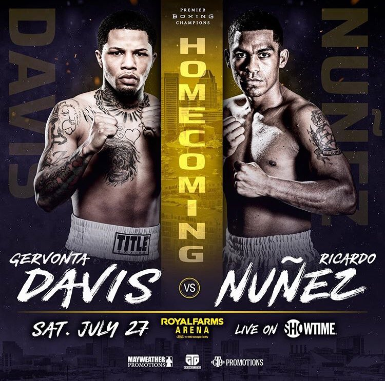 Make sure you come out to watch the future of boxing, @gervontaa and a stacked undercard TOMORROW (Saturday, July 27) at Royal Farms Arena. Doors at 4pm. Also live on @showtime at 9pm ET/6pm PT. #GTDhomecoming #DavisNunez @mayweatherpromotions