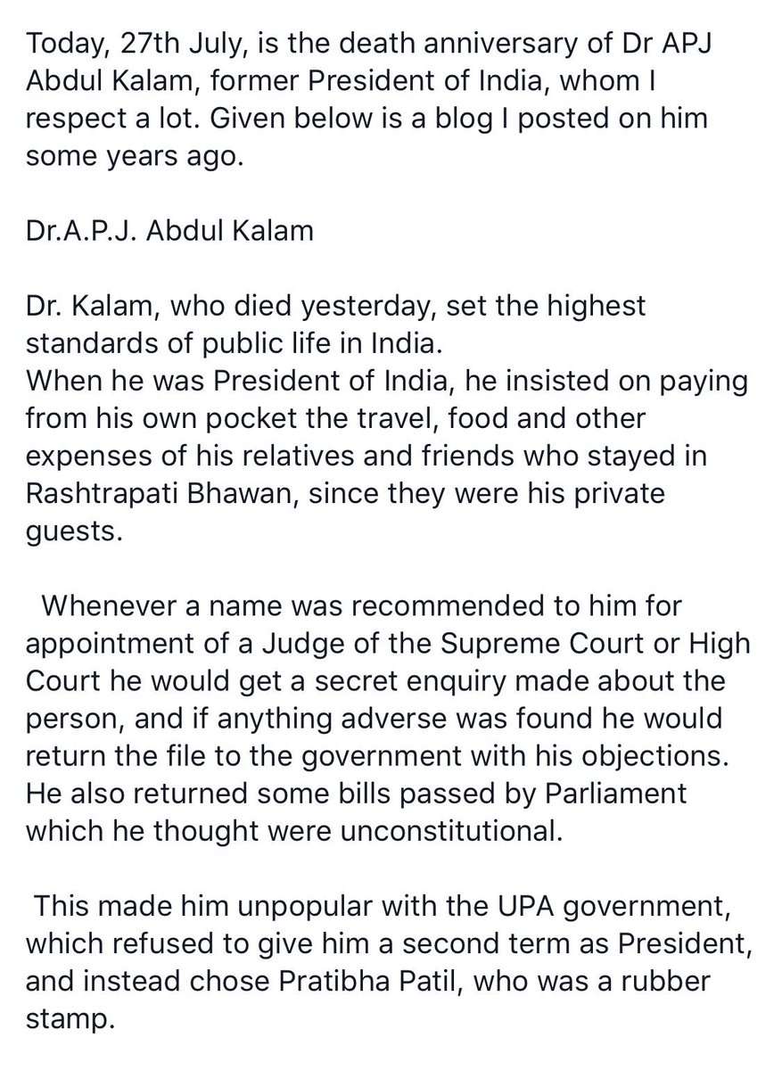 markandey katju mkatju  twitter  of dr apj abdul kalam former president of india whom i respect a lot  given below is a blog i posted on him some years  agopictwittercomrdfkuuaxrd