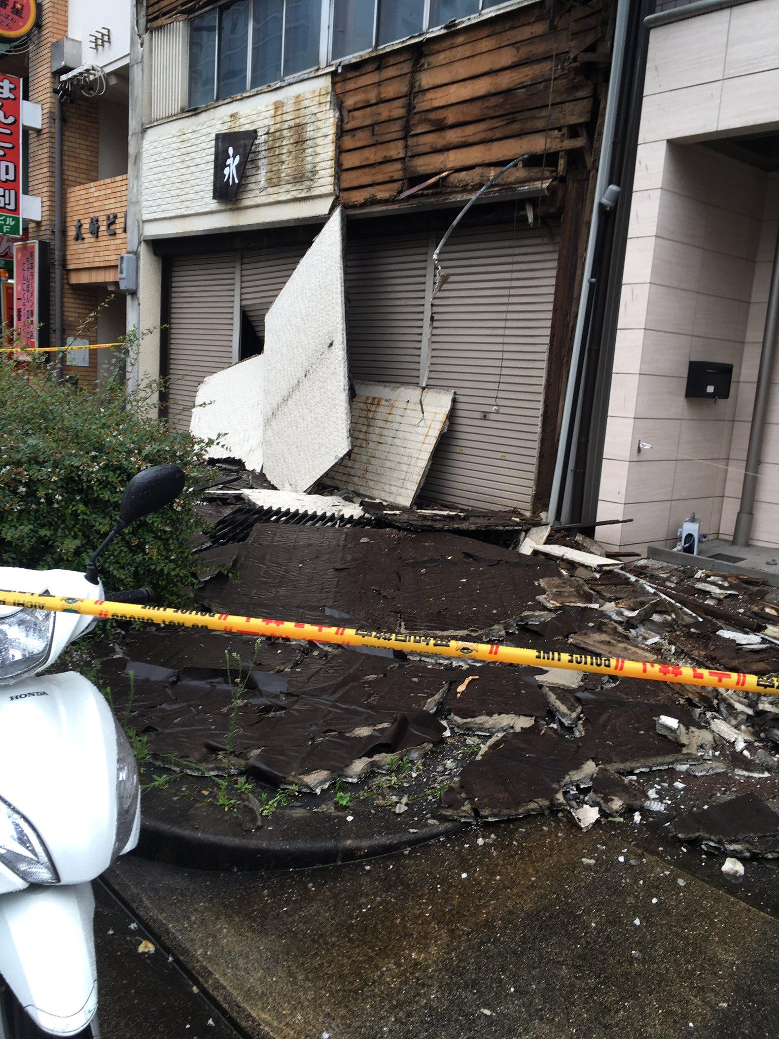 名古屋市千種区春岡1丁目で外壁が崩落する事故の現場画像