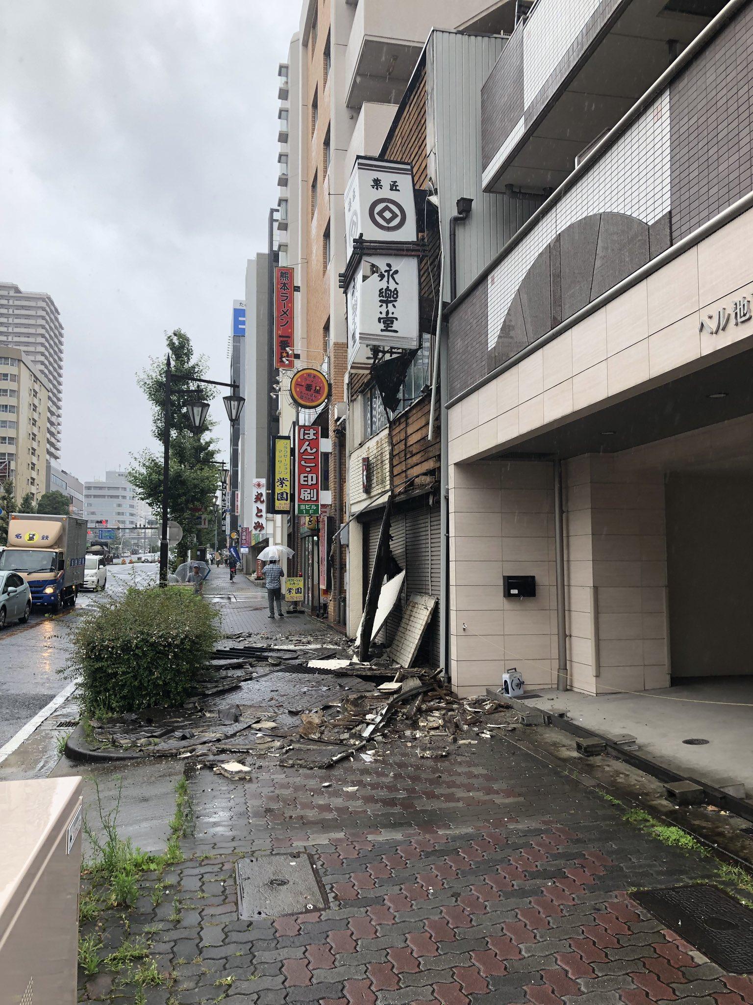 名古屋市千種区で外壁が崩落する事故の現場画像