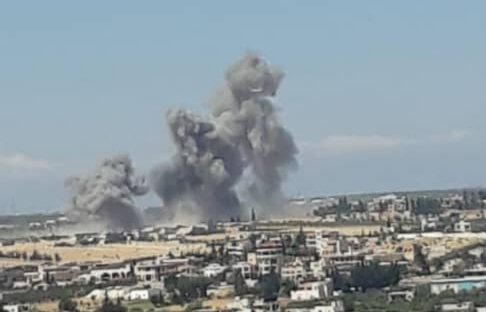 A raid of the warplanes at the village of Hamidiyah in the southern countryside of Idlib