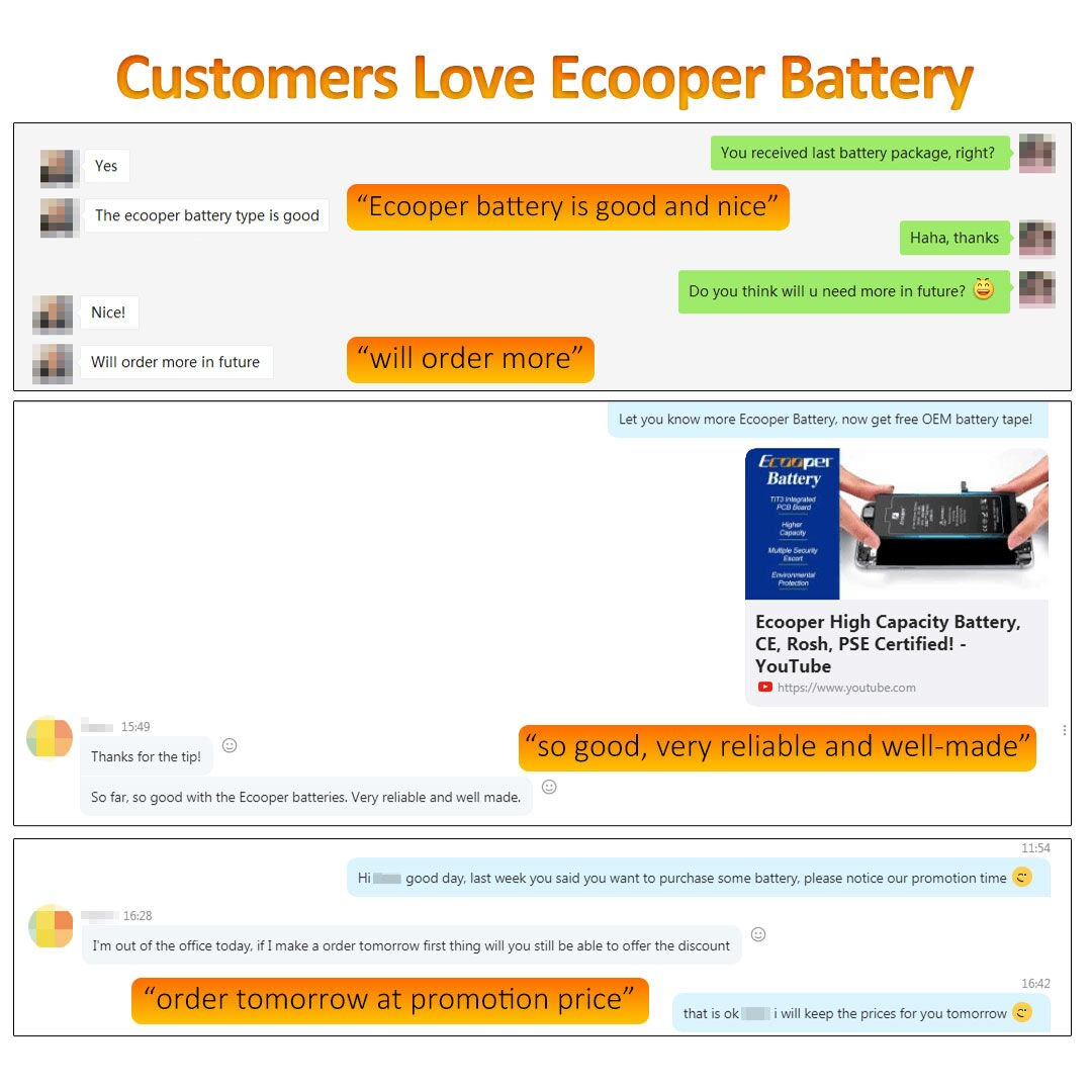 Ecooper High Capacity Battery For iphone 6/6P/6S/6SP/7/7P/8/8P.  The quality of products is indeed high and dependable !!  #Ecooper #Ecooperbattery #highcapacity #iphonebattery #elekworldjennifer #iPhone修理 #screenreplacements #iphonexscreen #iphonexlcd  #iphonexoled #iphonepic.twitter.com/VFsWHBxV6l