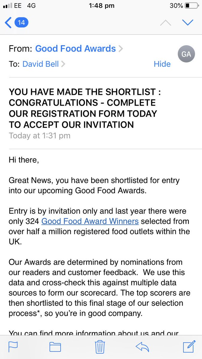 @GoodFoodAward no idea why I've received this? I mean I make a mean ham and cheese sandwich but....?