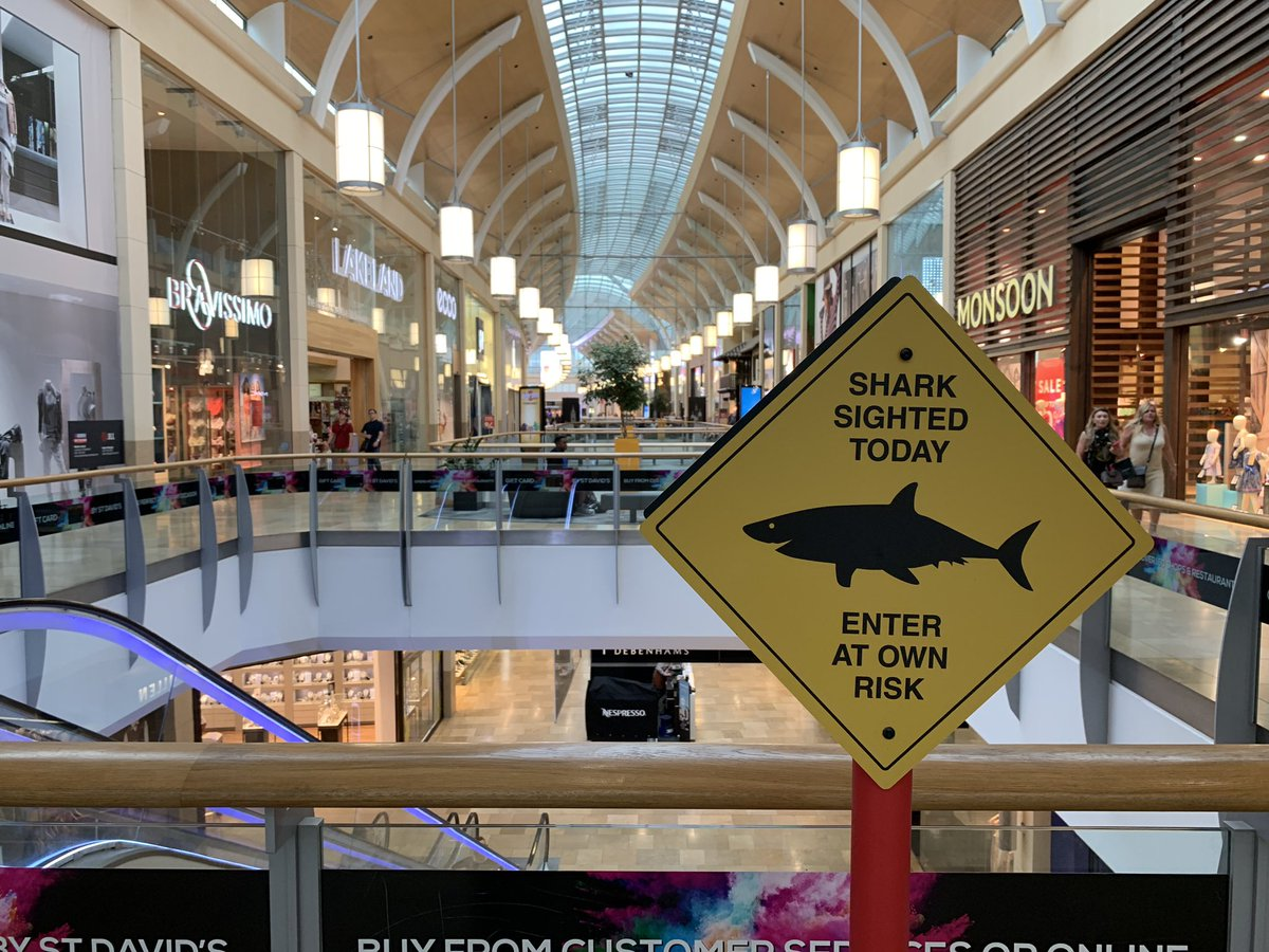 Stores and Jaws:  Be careful out there folks! And if you hear a solo chillist, make sure you are running faster than your best friend! @StDavidsCardiff #LoveSharks pic.twitter.com/eC6kc1R93d