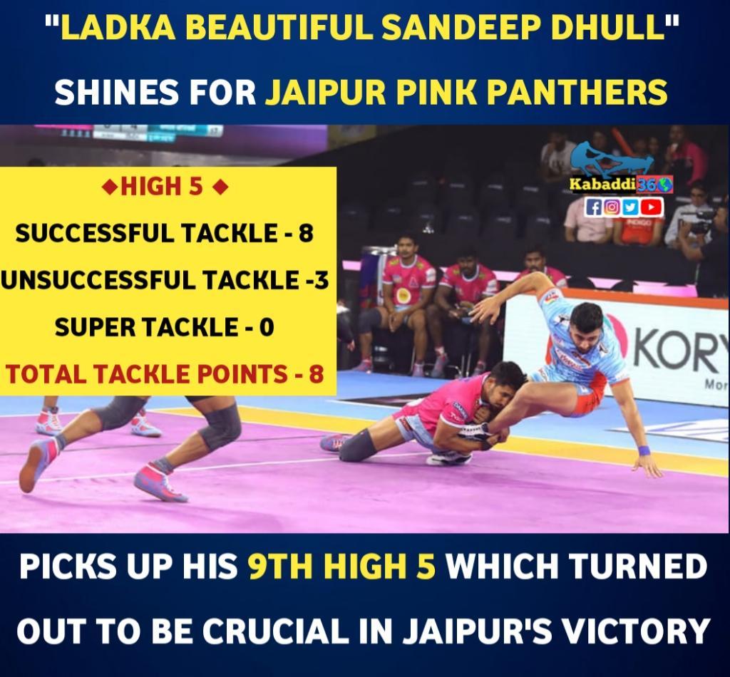 Sandeep Dhull with his defensive approach, led the @JaipurPanthers to victory.  #SandeepDhull  #jaipurpinkpanthers  #High5  #vivoprokabaddi  #PKLwithKabaddi360  #IsseToughKuchNahi
